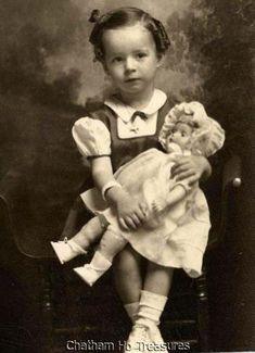 Sweet Little Girl w Her Favorite Doll Vintage Photo   eBay