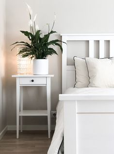 Ikea Hemnes series styling by Housewithrose Ikea Hemnes bed, Hemnes nightstand. Light home, neutral colored home, white and black home. Styling by Housewithrose. Ikea Hemnes Series, Ikea Hemnes Bed, Ikea Series, Ikea Nightstand, White Nightstand, Ikea Bedroom Design, Home Bedroom, Bedroom Decor, Bedroom Curtains