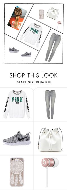"""""""Pink and Nike is so cute together !!"""" by m-d-cardin ❤ liked on Polyvore featuring Victoria's Secret, Paige Denim, Sole Society and Beats by Dr. Dre"""