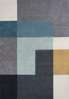 Dywan Tetris Aqua - Linie Design - wełniany - szary - niebieski