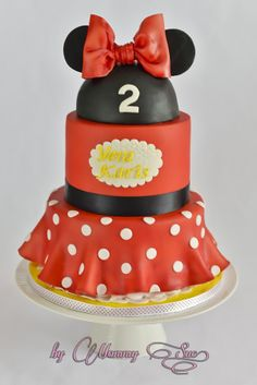 3 Tier Minnie Mouse cake in red