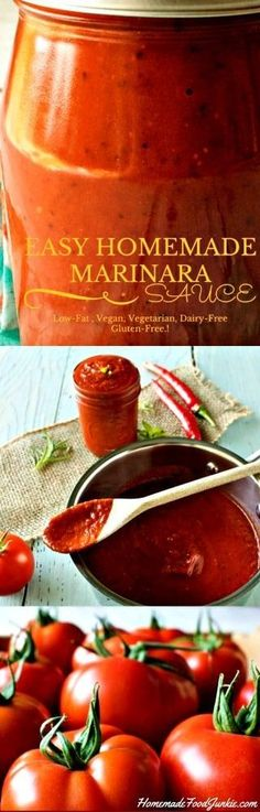 Homemade Marinara Sauce is so easy to make. The flavor of this sauce is unbeatable! #glutenfree #dairyfree #healthy #vegetarian