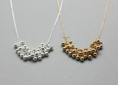 Artfire-Zizibejewelry-Bubble Ball Beads Statement Necklace in 2 colors, N0784G-$13.00