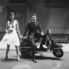 Modern styling yet with an old-school feel (vespa, camera).  Slick and romantic at the same time.