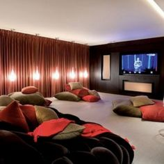 exciting basement | Seating With Pillows On Basement Home Theater Idea , Exciting Basement ...