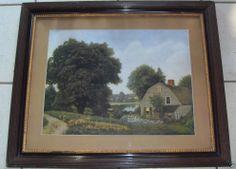 Antik Henry P. Smith Landschaft Glas edel gerahmt wohl 1909 71x59cm 4Kg.