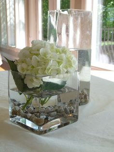 Glass cubes and vase