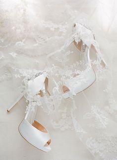 White Wedding Shoes and Veil   Brides.com