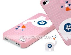 BD Covers Cute Elephant Pattern Hard Protective Case for iPhone 4/4S - Pink iPhone 4 Cases - iPhone 4 Cases & 4s Cases - iPhone Accessories - Cell Phones