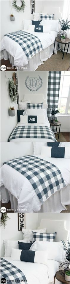 This farmhouse inspired gingham dorm room bedding set screams fixer upper style. We love the crisp and clean colors, frilly linens, and (of course) buffalo check plaid pattern. Add some texture with our sweater euro and crochet pillowcase to complete the Dorm Room Headboards, Dorm Bedding Sets, Bedding Sets Online, Teen Bedding, Dorm Bed Skirts, Teen Room Makeover, Farmhouse Style Bedding, Luxury Bedding, Tartan