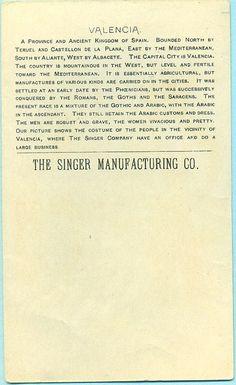 Singer Sewing Machine's World, 1892, Spain Valencia Trade Card