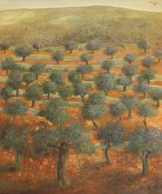 Available for sale from Gallery One, Sliman Mansour, Olive Grove Oil on canvas, 118 × 96 cm Olive Tree Tattoos, Tree Tattoo Designs, Landscape Paintings, Oil On Canvas, Artsy, Gallery, Drawings, Artwork, Colors