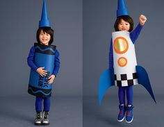 Rocket and Crayon Costumes for Kids This crayon costume will turn into a rocket costume with a few clever tweaks. Toddler Boy Halloween Costumes, Kids Costumes Boys, Halloween Diy, Space Costumes, Diy Costumes, Rocket Costume, Crayon Costume, Diy Rocket, Baby Kostüm