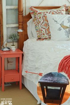 coral gray bedroom.love the colors and fabric. I dead for living room