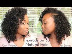 The CurlFriends Series | Flexi Rod Set on 3B Natural Hair - YouTube