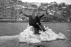Two guys on a small ice in the sea (Bosphorus, Istanbul. Yesterday And Today, Photo Essay, Winter Snow, Old Photos, Istanbul, Frozen, Landscape, History, World