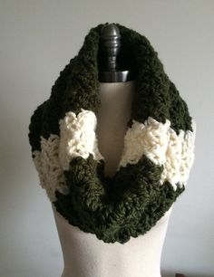 Crochet Green #White Chunky Cowl, Neckwarmer, Circle Scarf, Loop Scarf, Infinity Scarf by RavensMoonDesigns - Found on HeartThis.com @HeartThis | See item-http://www.heartthis.com/product/432364141125655672?cid=pinterest