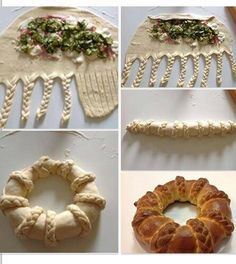 Make a basic bread dough, add fillings, braid up like photo. Buffet Party, Pan Relleno, Bread Shaping, Bread Art, Braided Bread, Snacks Für Party, Bread And Pastries, Food Decoration, Creative Food