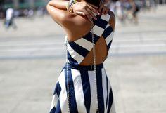 navy stripes cutout dress