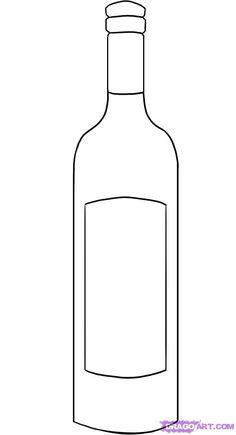 "Step Learn How to Draw a Wine Bottle FREE Step-by-Step Online Drawing Tutorials, Stuff, Pop Culture free step-by-step drawing tutorial will teach you in easy-to-draw-steps how to draw ""How to Draw a Wine Bottle"" online. Cadeau Parents, Bottle Drawing, String Art Templates, Bottle Tattoo, Wine Bottle Crafts, Beer Bottle, Outline Drawings, Stained Glass Patterns, Drawing Lessons"