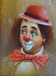 Vintage Rare Clown Oil Painting
