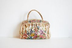 needlepoint tapestry floral purse