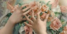 Emile Vernon Painting details Flowers and Hands
