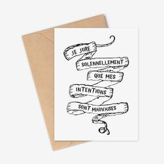 """Carte Harry Potter """"Je jure solennellement que mes intentions sont mauvaises"""". Cadeau Potterhead, citation Harry Potter, carte du maraudeur"""