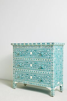Bone Inlay Chest of 3 Drawers Floral Design in Teal Green Color, Bone Inlay Dresser Table, Bone Inlay Bed Room Furniture Teal Dresser, Three Drawer Dresser, Dresser Table, Dresser Drawers, Dressers, Upcycled Furniture, Painted Furniture, Diy Furniture, Furniture Design