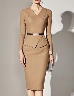 Women Dresses Classy: V-Neck Plain bodycon dress bodycon dress outfit bodycon dress formal bodycon dre. Spring Dresses Casual, Elegant Dresses, Sexy Dresses, Dresses For Work, Summer Dresses, Formal Dresses, Wedding Dresses, Fall Dresses, Pretty Dresses