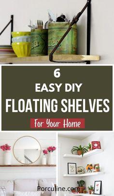 White Shelves, Floating Shelves Diy, Home Dance, Easy Diy, Simple Diy, Home Hacks, Just Giving, Bookshelves, Repurposed