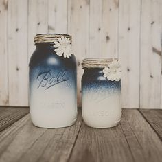 Painted mason jar wedding centerpiece vase. Bouquet vase. Guestbook pen jar. Ombre style.*another idea for the painted cans.
