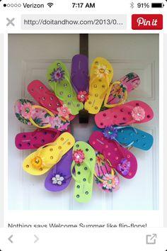 DIY flip flop wreath. So cute