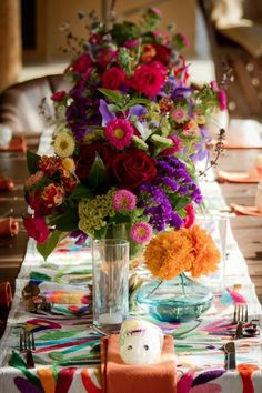 Mexican Wedding featuring Otomi runner and beautiful bright flowers (Sara Richardson Photography) Spanish Style Weddings, Spanish Wedding, Mexican Party, Mexican Style, Mexican Spanish, Wedding Centerpieces, Wedding Decorations, Mexican Themed Weddings, Our Wedding