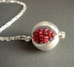 Pomegranate Pendant  Red Pink Gemstones by Artesserae on Etsy, $275.00