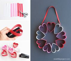 This stapled paper heart wreath is such a fun and EASY Valentine& Day craft to make with the kids! It& a great little wreath to hang on a bedroom door (or school classroom door?) and it makes a super cute and simple Valentine& decoration! Valentines Bricolage, Valentine Crafts For Kids, Valentines Day Decorations, Be My Valentine, Holiday Crafts, Crafts To Make, Heart Decorations, Diy St Valentin, Cadeau St Valentin
