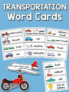 This set of printable transportation word cards includes pictures and words for 26 vehicles: car, airplane, helicopter, motorcycle, bicycle, train, van, delivery truck, semi truck, truck, RV, boat, sailboat, sub, hot air balloon, ambulance, fire truck, mail truck, police car, tow truck, trash truck, dump truck, taxi, bus, school bus, space shuttle. Here is a new set for thePicture-Word Cards collection. This set goes with my Transportation Theme. How to