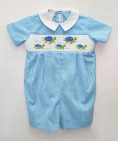 Love this Blue Sea Turtle Smocked Romper - Infant by Vive La Fête on #zulily! #zulilyfinds