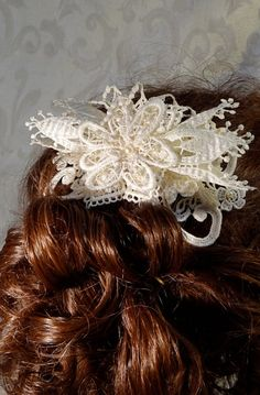 Ivory Lace Hair Comb Flower Bridal OOAK by Marcellefinery on Etsy, $26.00