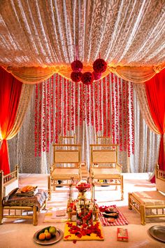 An Ornate Red and Gold Traditional Indian Mandap indian wedding An Ornate Red and Gold Traditional Indian Mandap Wedding Mandap, Wedding Stage, Red Wedding, Wedding Events, Wedding Receptions, Floral Wedding, Elegant Wedding, Wedding Bride, Wedding Ceremony