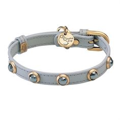 A soft grey leather pet collar with genuine Hematite gemstones and brass hardware for cats, small dogs and toy breeds.