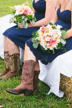 Navy blue lace bridesmaid dresses with cowgirl boots