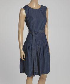 Look at this Robbie Bee Blue Tie-Waist Sleeveless Denim Dress - Women on #zulily today!