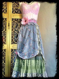 pink olive embroidered boho marie antoinette by mermaidmisskristin, $150.00