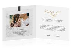 Nodig de gasten voor jullie bruiloft uit met deze stijlvolle huwelijksuitnodiging. Maak de kaart extra bijzonder door te kiezen voor papiersoort Parelmoer!