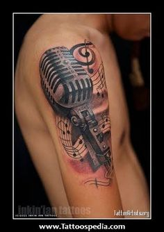Pretty Music Tattoos On Shoulder For Guys photo - 1 tattoo mann vorlagen skull pretty tattoos Tattoo Life, Mic Tattoo, Microphone Tattoo, Neue Tattoos, Body Art Tattoos, Sleeve Tattoos For Women, Tattoos For Guys, Pretty Tattoos, Cool Tattoos