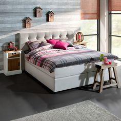 boxspring stockholm: past in een moderne en stoere slaapkamer #bed, Deco ideeën