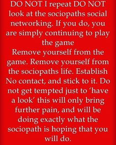 One thing you should do after you realize someone is a narcissist or sociopath is to totally and completely avoid looking at any of their social media posts. EVERYTHING these attention whore, phony, whack jobs post is intended to manipulate or evoke certain reactions or emotions from people. NOTHING they post is authentic.  Don't waste precious moments of your life looking at any of the FAKE fuckery narcissists post.