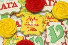 Alpha Gamma Delta sorority cookies by The Pink Mixing Bowl!