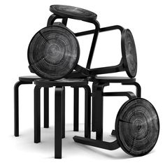 """Aalto Stool 60 by Artek and its special anniversary edition """"Rings"""" by Nao Tamura."""